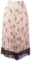 RED Valentino pleated floral skirt - women - Cotton/Polyester - 40