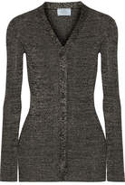 Prada Metallic Ribbed-knit Cardigan