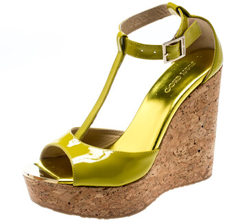 Jimmy Choo Lime Green Patent Leather Pania Cork Wedge T Strap Sandals Size 38