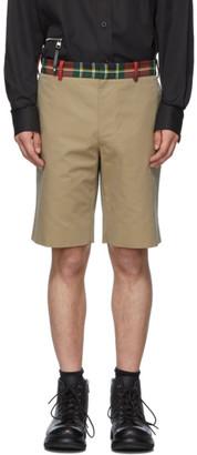 Alexander McQueen Beige Check Waistband Shorts