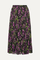 Prada Pleated Printed Silk-voile Midi Skirt - Purple