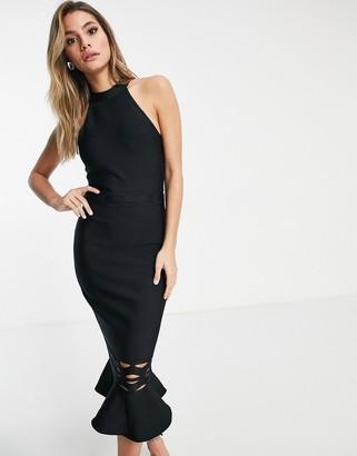 Lipsy bandage peplum hem midi dress in black