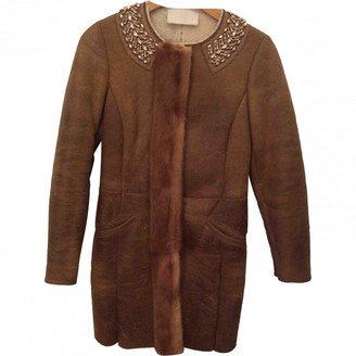 Prada Camel Shearling Coat for Women