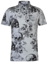 Firetrap Blackseal Skull AOP Polo Shirt Mens