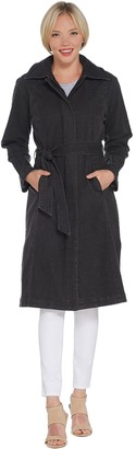 Halston H By H by Denim Zip Front Trench Coat with Belt