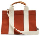 Rue De Verneuil - Mini Medium Leather-trimmed Canvas Tote Bag - Womens - Dark Orange