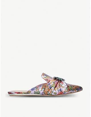 Kurt Geiger London Oona crystal-embellished floral flat mules