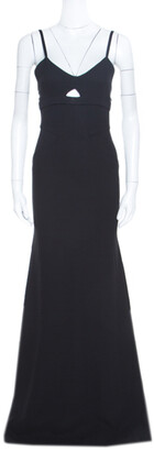 Victoria Beckham Black Double Crepe Cutout Detail Sleeveless Maxi Dress S