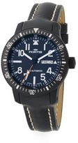 Fortis Stainless Steel & Leather Analog Watch