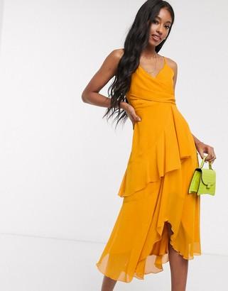 ASOS DESIGN soft layered cami midi dress in sunflower yellow