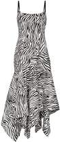 SOLACE London Marisol zebra-stripe asymmetric dress