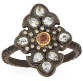 Armenta Old World Garnet & Diamond Scroll Ring, Size 6.5