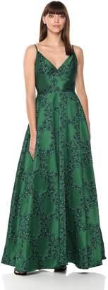 ML Monique Lhuillier Monique Lhuillier Ml Women's Jacquard Spaghetti Strap Gown Dress