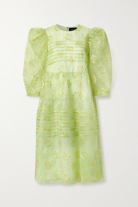 Simone Rocha Pintucked Floral-embroidered Organza Midi Dress - Chartreuse