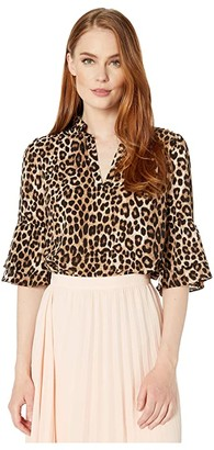 MICHAEL Michael Kors Mega Cheetah Ruffle Top (Dark Camel) Women's Clothing