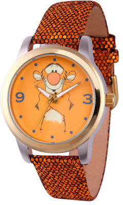 Disney Winnie the Pooh Womens Gold Tone Leather Strap Watch-Wds000353 Family