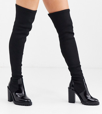 Asos Design DESIGN Wide Fit Karina chunky thigh high boots in black knit