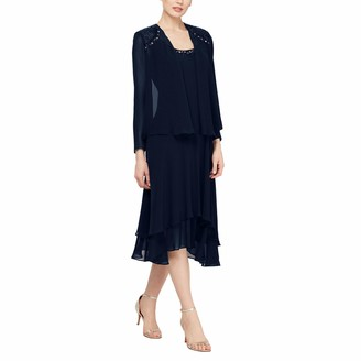 SL Fashions Women's Embellished Shoulder and Neck Jacket Dress