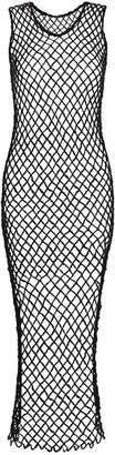 Comme des Garcons Long Sleeveless Fishnet Wool Dress