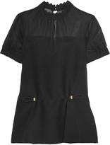 Mary Katrantzou Sphene chiffon-paneled silk-blend crepe top
