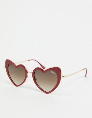Quay Love That womens heart shaped sunglasses in red