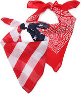 David & Young Women's Americana Bandana Scarves - 2 Pack -Navy/ Red/White
