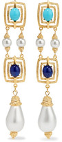 Ben-Amun Gold-Tone, Faux Pearl And Stone Earrings