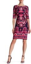 Eliza J Paisley Knit Sheath Dress