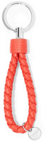 Bottega Veneta Metallic Intrecciato Leather Keychain - Red