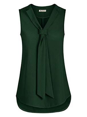 Moyabo Sleeveless Blouses for Women V Neck Casual Office Outgoing Chiffon Blouse with Tie