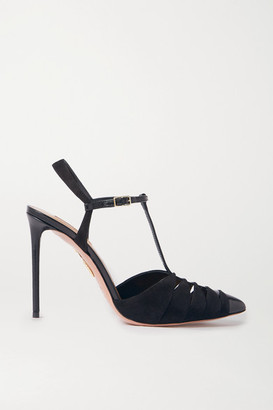 Aquazzura Panthere 105 Cutout Suede And Leather Pumps - Black