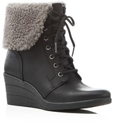 UGG Zea Faux Shearling Cuff Wedge Booties