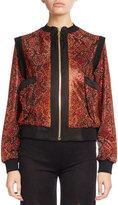 Balmain Beaded Python-Print Zip Bomber, Red/Black