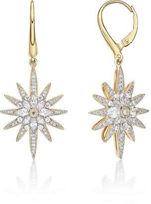 FINE JEWELRY Diamonart 1 7/8 CT. T.W. White Cubic Zirconia 14K Gold Over Silver Star Drop Earrings