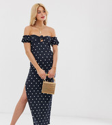 Asos Tall DESIGN Tall off shoulder crinkle maxi sundress with puff sleeve in spot print