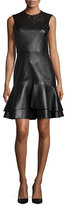 Jason Wu Sleeveless Leather Ruffle-Hem Dress, Black