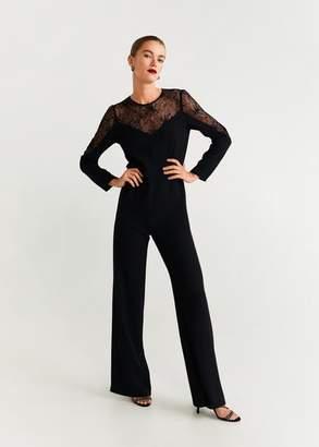 MANGO Lace long jumpsuit black - XS - Women