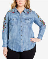 Jessica Simpson Trendy Plus Size Embroidered Chambray Shirt