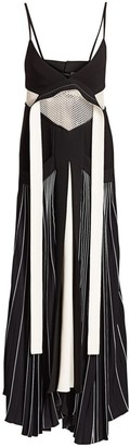 Proenza Schouler Mixed-Media Pleated Cady Maxi Dress