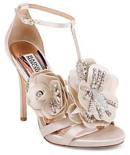 Badgley Mischka Women's Lisa Embellished Satin Floral Applique High-Heel Sandals