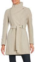 Calvin Klein Short Belted Wrap Coat