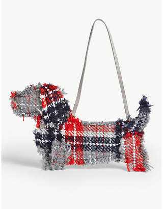 Thom Browne Hector leather and knitted clutch
