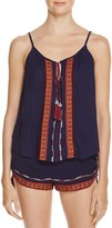 Band of Gypsies Embroidered Tassel Tie Top