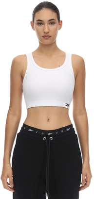 Reebok x Victoria Beckham Logo Cotton Jersey Sport Bra