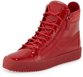 Giuseppe Zanotti Men's Patent Leather High-Top Sneaker, Red
