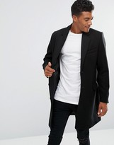 Asos Wool Mix Overcoat In Black
