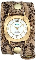 La Mer Women's LMODY3005 Odyssey Stainless Steel Watch with Snakeskin Leather Wrap Band