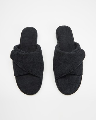 Staple Superior - Black Sandals - Vegas Terry Towelling Velcro Slides - Size M7/W9 at The Iconic