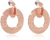 Rebecca R-Zero Rose Gold Over Bronze Drop Hoop Earrings