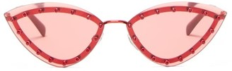 Valentino Crystal-embellished Cat-eye Metal Suglasses - Womens - Red